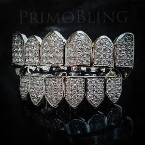 Silver Lab Diamond Iced Out Fang Grillz
